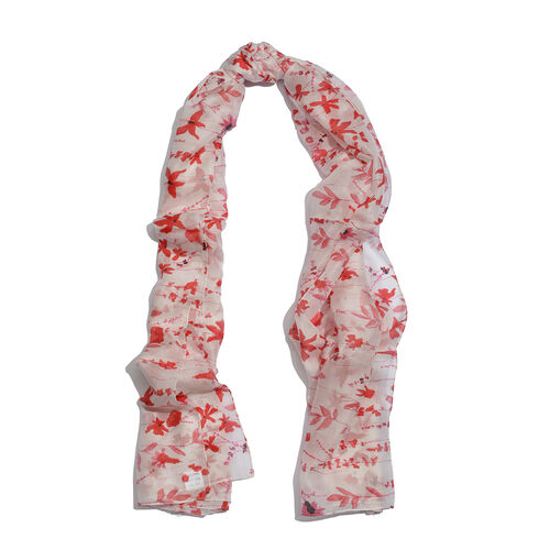 100% Mulberry Silk Red and Multi Colour Floral Pattern White Colour Pareo (Size 180x100 Cm)