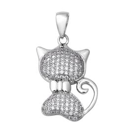 ELANZA Simulated Diamond Cat Pendant in Rhodium Plated Sterling Silver
