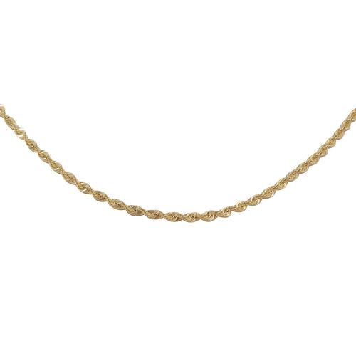 Italian Made- 9K Yellow Gold Diamond Cut Rope Chain (Size 36) 4.53 Grams