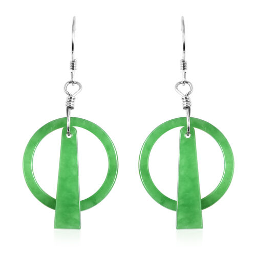 Green Jade Hook Earrings in Rhodium Overlay Sterling Silver 14.00 Ct.