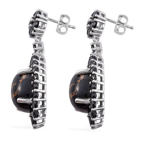 Arizona Mojave Black Turquoise (Ovl), Boi Ploi Black Spinel Earrings (with Push Back) in Platinum Overlay Sterling Silver 19.000 Ct.