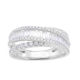 1.21 Ct Diamond Half Eternity Ring in 14K White Gold 4.7 Grams