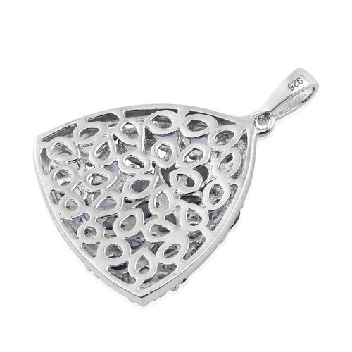 Tanzanite (Rnd) Floral Pendant in Platinum Overlay Sterling Silver 4.250 Ct.