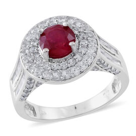 4.75 Ct African Ruby and Zircon Double Halo Ring in Rhodium Plated Silver 5.50 Grams