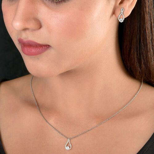 2 Piece Set J Francis Sterling Silver Pendant and Earrings (with Push Back) Made with SWAROVSKI ZIRCONIA