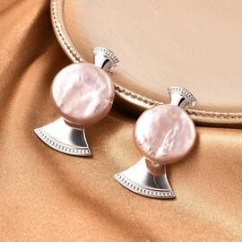 Baroque Pearl Earrings in Rhodium Overlay Sterling Silver