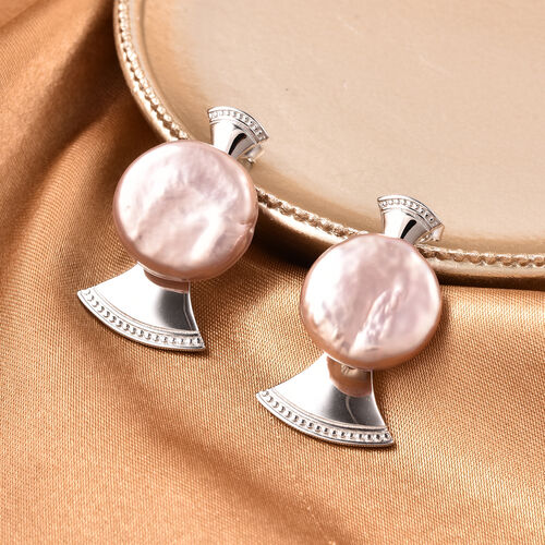 Baroque Pearl Earrings in Rhodium Overlay Sterling Silver