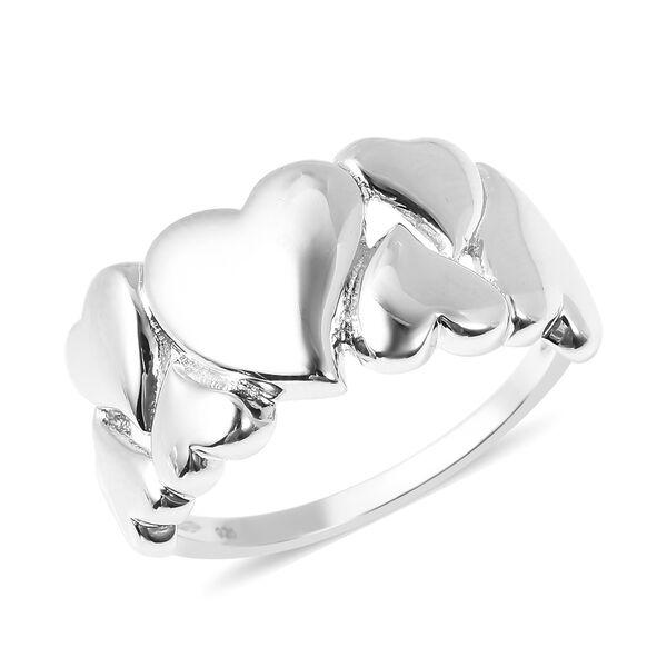 RACHEL GALLEY Rhodium Overlay Sterling Silver Heart Ring