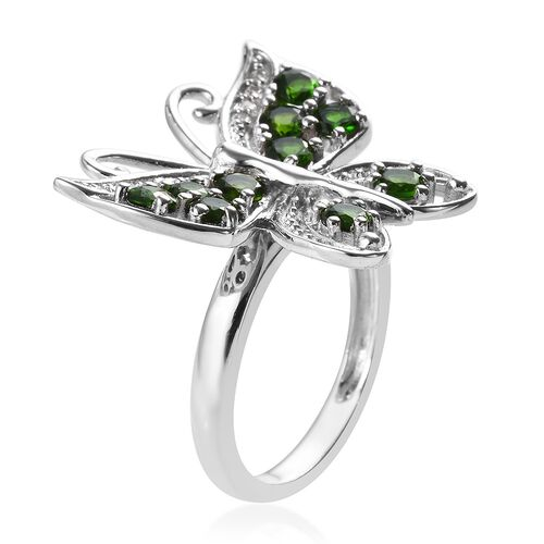 Designer Inspired - Russian Diopside (Rnd), Natural Cambodian Zircon Butterfly Ring in Platinum Overlay Sterling Silver 1.350 Ct.
