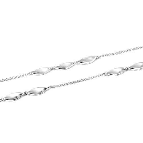 RACHEL GALLEY Sandblast Texture Collection - Rhodium Overlay Sterling Silver Leaf Design Station Necklace (Size 40), Silver wt 36.40 Gms