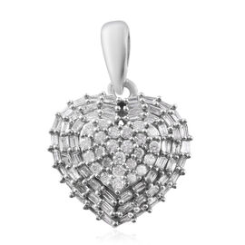 9K White Gold SGL Certified Diamond (Rnd and Bgt) (I3/G-H) Heart Cluster Pendant 0.500 Ct.