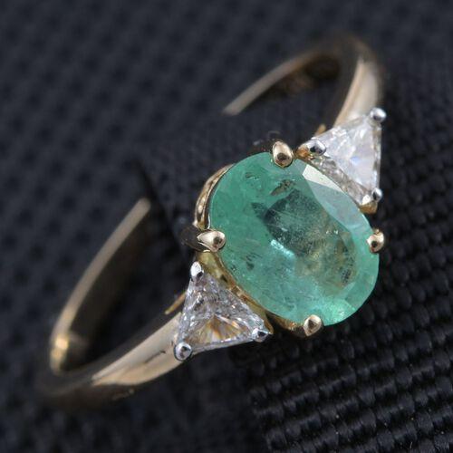 14K Yellow Gold AAA Boyaca Colombian Emerald (Ovl 1.05 Ct), Diamond (I 1/G-H) Ring 1.250 Ct.