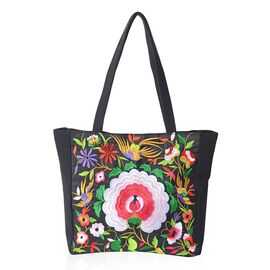 Shanghai Collection- Multi Colour Flower Pattern Tote Bag (Size 43x34x33.5x10 Cm) - Colour Black