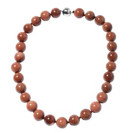 Aurum Sandstone Beaded Necklace in Rhodium Plated Silver 20 Inch