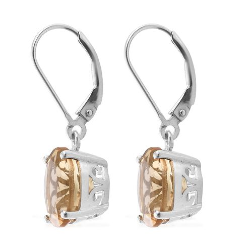 Citrine (Ovl) 7 Carat Silver Lever Back Earrings in Platinum Overlay