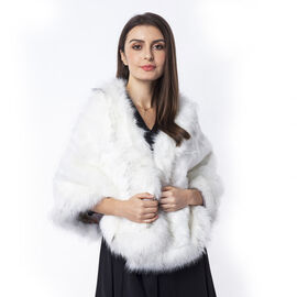 White Colour  Faux Fur Wrap (Size 160x55 Cm)