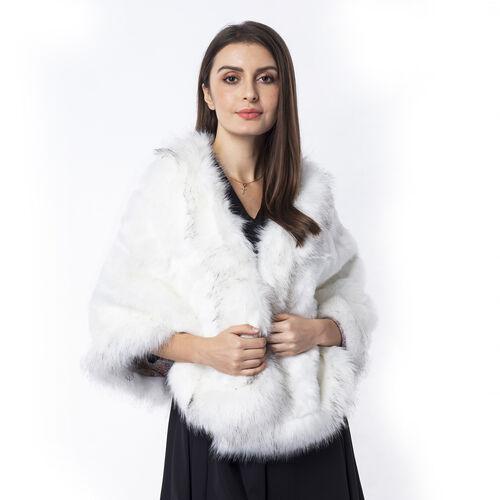 White Colour  Faux Fur Wrap (Size 160x55 Cm)