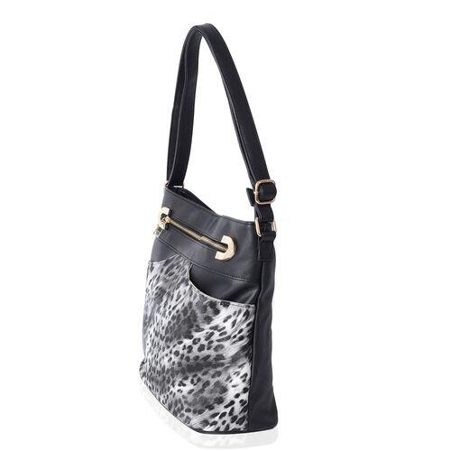 Leopard Pattern Cross Body Bag with Adjustable Shoulder Strap (Size 30.5x30.5x15 Cm) Colour Black