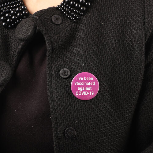 Vaccinated Badge in Purple (Size- 4.5 CM)