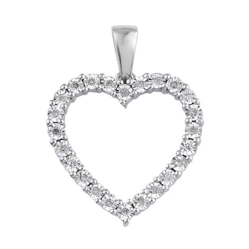 GP Diamond Heart Pendant in Platinum Plated Sterling Silver