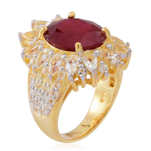 African Ruby (Ovl 10.75 Ct), White Topaz Ring in 14K Gold Overlay Sterling Silver 16.000 Ct.