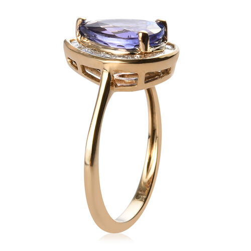 9K Yellow Gold AAA Tanzanite (Pear 10x7mm 2.00 Cts) and Diamond Pear Halo Ring 2.25 Ct.