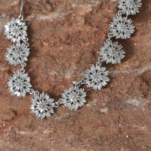 Designer Inspired - Fire Cracker Diamond (Rnd) Adjustable Necklace (Size 18) in Platinum Overlay Sterling Silver 2.000 Ct.