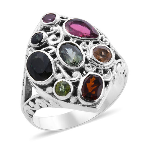 Bali Legacy Collection - Multi-Tourmaline Dome Ring in Sterling Silver 3.39 Ct, Silver wt. 6.50 Gms