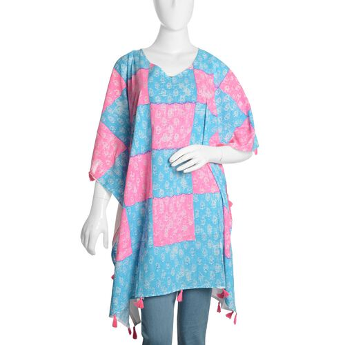 New Season-100% Cotton Blue, Pink and White Colour Hand Block Paisley Printed Kaftan with Tassels (F