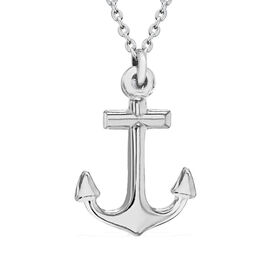Sterling Silver Anchor Necklace (Size 18)