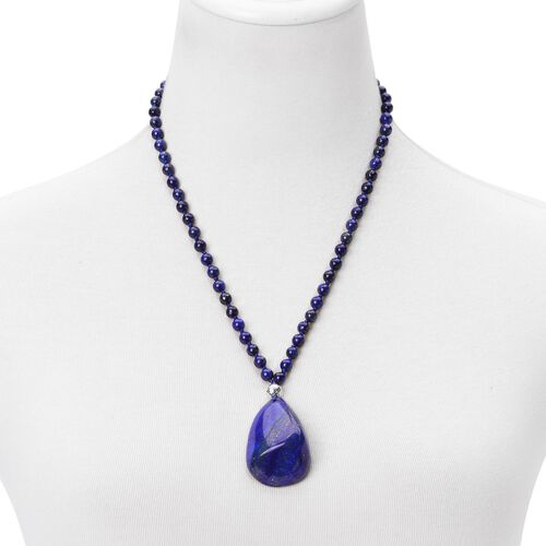 One Off Deal-Lapis Lazuli Necklace (Size 20 with 2 inch Extender) in Sterling Silver 317.000 Ct.