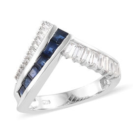 Kanchanaburi Blue Sapphire (Sqr), Natural Cambodian Zircon Wish Bone Ring in Platinum Overlay Sterli