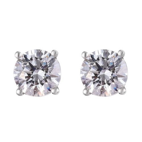 J Francis - Platinum Overlay Sterling Silver Stud Earrings Made with SWAROVSKI ZIRCONIA