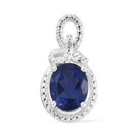 Chinese Blue Fluorite (Ovl 10x8 mm), Diamond Pendant in Sterling Silver 3.000 Ct.