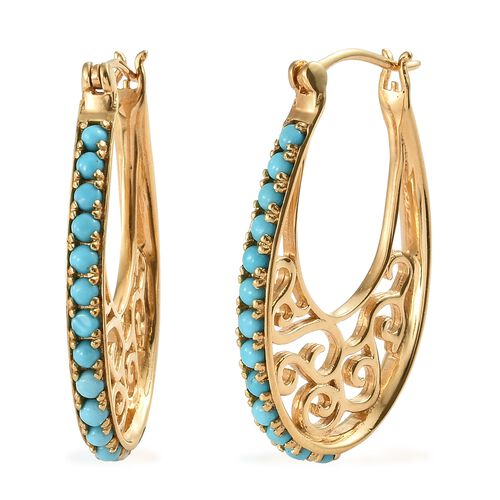 Arizona Sleeping Beauty Turquoise (Rnd) Hoop Earrings (with Clasp Lock) in 14K Gold Overlay Sterling Silver 2.000 Ct, Silver wt 10.05 Gms