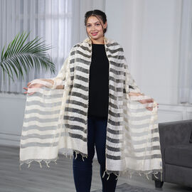 JOVIE - New Season Handmade Scarf with Fringes in Beige (Size 76x235cm)