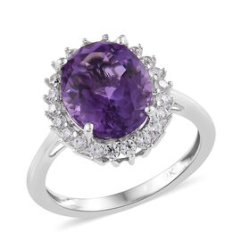 Moroccan Amethyst (3.00 Ct),Cambodian Zircon 9K W Gold Ring  3.500  Ct.