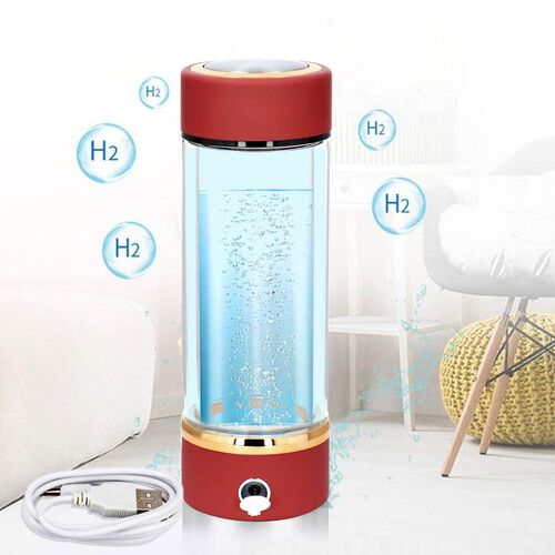 380ml Portable Hydrogen Water Generator Bottle with SPE and PEM Technology (Size 7x21 Cm) - Wine Red