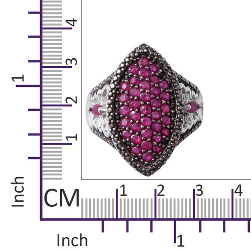Burmese Ruby (Rnd), African Ruby and Boi Ploi Black Spinel Cluster Ring in Rhodium Overlay with Black Plating Sterling Silver 1.960 Ct, Silver wt 6.20 Gms.