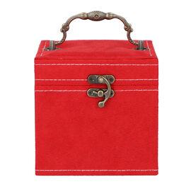 Red Velvet 3 layer jewelry box with mirror vintage style handle and lock