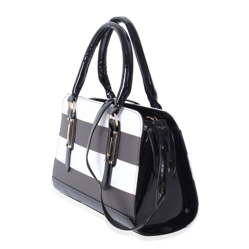 HONGKONG Close Out Black and White Colour Stripe Pattern Tote Bag with Removable Shoulder Strap (Size 31.5x22x12.5 Cm)