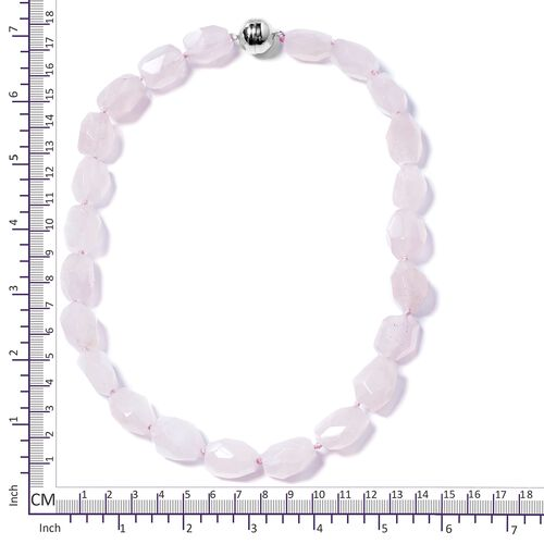 Statement Collection- Faceted Cut Fancy Shaped Rose Quartz Beads Necklace (Size 20) in Rhodium Overlay Sterling Silver 400.000 Ct