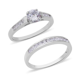 Set of 2 ELANZA Simulated Diamond Solitaire Band Ring in Rhodium Plated Sterling Silver