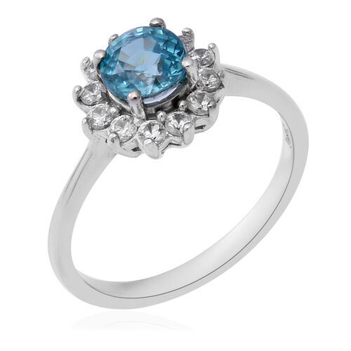 Ratanakiri Blue Zircon and Natural Cambodian Zircon Ring in Rhodium Overlay Sterling Silver 2.13 Ct.