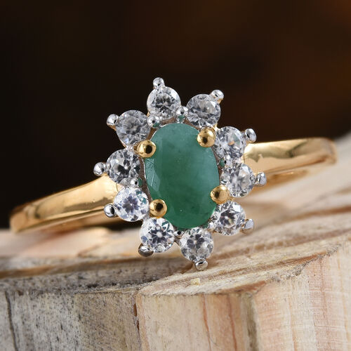 Kagem Zambian Emerald (Ovl), Natural Cambodian Zircon Ring in 14K Gold Overlay Sterling Silver 1.000 Ct.