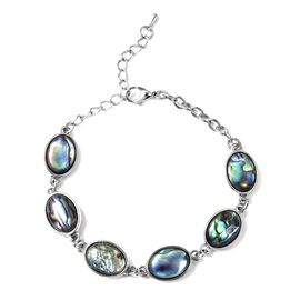 Abalone Shell (Ovl) Bracelet (Size 7 with 2 inch Extender) in Silver Tone