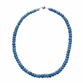 200 Ct Peruvian Blue Opal Beaded Necklace in Rhodium Plated Sterling Silver 18 Inch