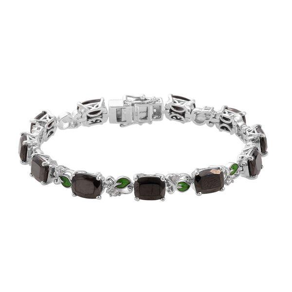 14.50 Ct Elite Shungite and Zircon Tennis Design Bracelet in Platinum Plated Silver 7.5 Inch