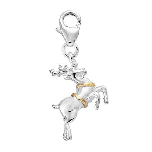 Platinum and Yellow Gold Overlay Sterling Silver Reindeer Charm
