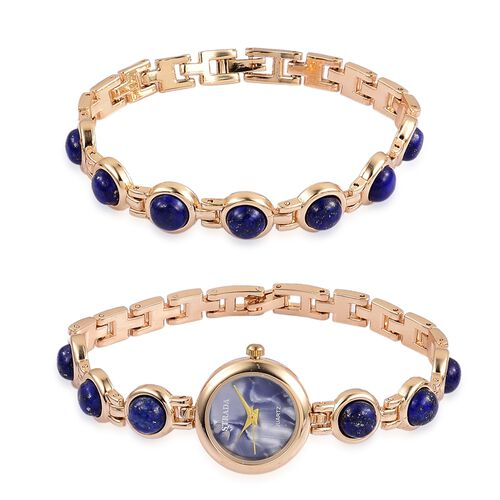 STRADA Japanese Movement Lapis Lazuli Studded Water Resistant Watch (Size 8.25) and Bracelet (Size 7.5 ) in Yellow Gold Tone 57.200 Ct.